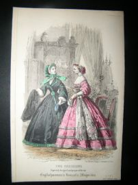 Englishwoman's Domestic Magazine 1861 Hand Col Fashion Print. October